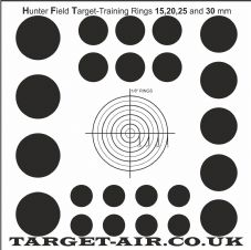 Hunter Field Target training 15, 20, 25 and 30 mm kill zones - Practice Shooting Target, 250gsm Card